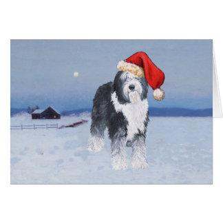 Carte Vieux casquette anglais de Père Noël de chien de