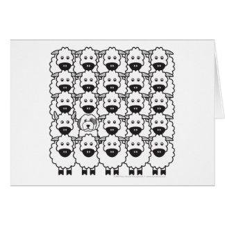 Carte Vieux chien de berger anglais chez les moutons