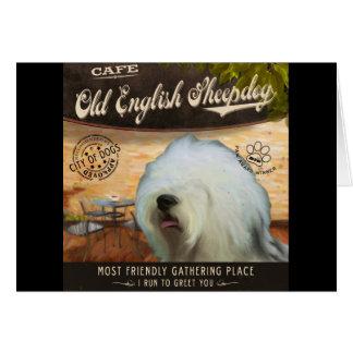 Carte Vieux chien de berger anglais de café