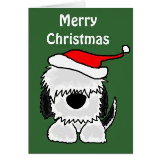 Carte Vieux chien de berger anglais drôle dans le
