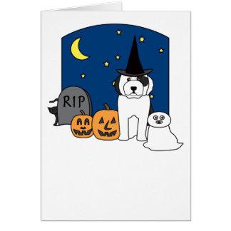 Carte Vieux chien de berger anglais Halloween