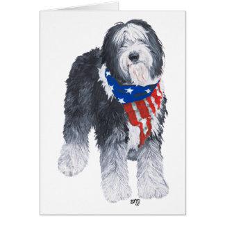 Carte Vieux chien de berger anglais patriotique