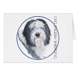 Carte Vieux chien de berger anglais Rondelle