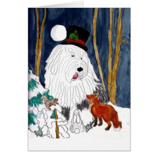 Carte Vieux conteur anglais de Noël de chien de berger
