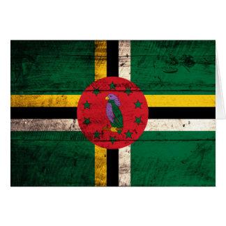 Carte Vieux drapeau en bois de la Dominique