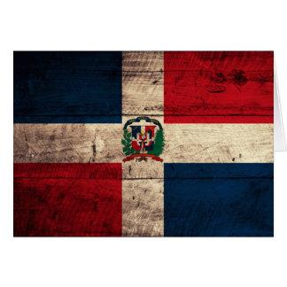 Carte Vieux drapeau en bois de la République Dominicaine
