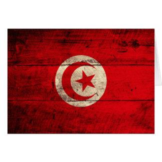 Carte Vieux drapeau en bois de la Tunisie