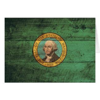 Carte Vieux drapeau en bois de Washington ;