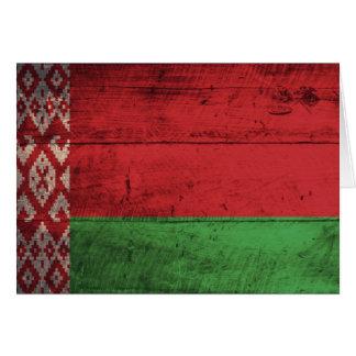 Carte Vieux drapeau en bois du Belarus