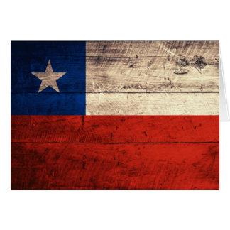 Carte Vieux drapeau en bois du Chili