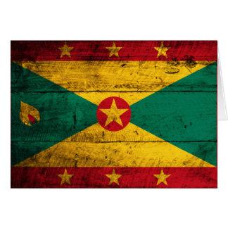 Carte Vieux drapeau en bois du Grenada