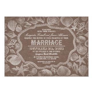 Carte vieux mariage de plage brune vintage de