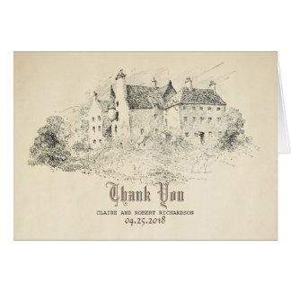 Carte Vieux Merci de mariage de conte de fées de château