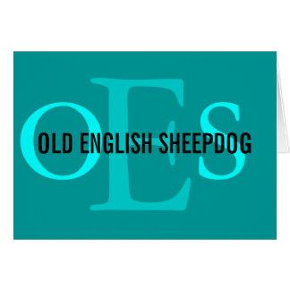 Carte Vieux monogramme anglais de chien de berger