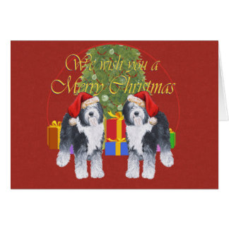 Carte Vieux Noël anglais de chien de berger