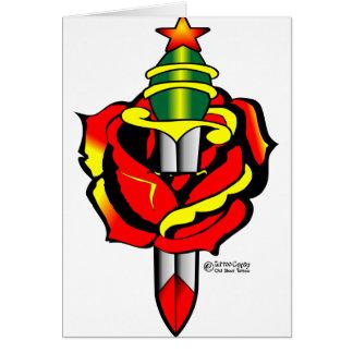 Carte Vieux tatouage de Skool de poignard et de rose)