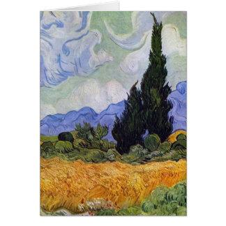 Carte Vincent van Gogh - champ de blé avec des cyprès