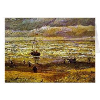 Carte Vincent van Gogh, plage avec des chiffres et mer