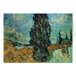 Carte Vincent van Gogh - route avec le cyprès et