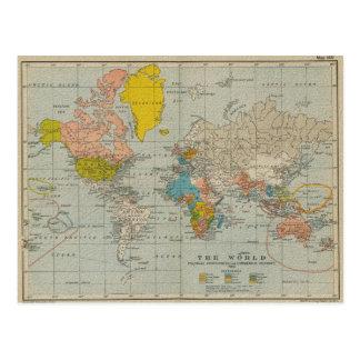 Carte vintage 1910 du monde carte postale