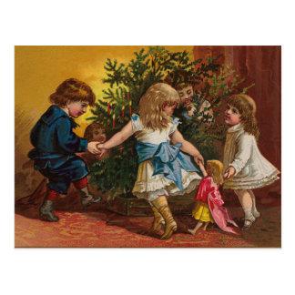 Carte vintage colorée de jeux de Noël Cartes Postales