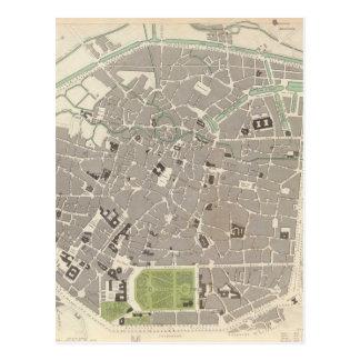 Carte vintage de Bruxelles (1837) Carte Postale