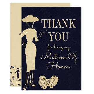 Carte vintage de dame de honneur de Merci de mode