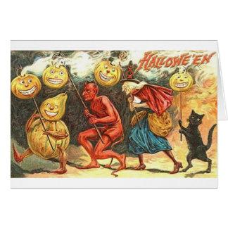 Carte vintage de défilé de Halloween de diable et