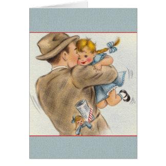 Carte vintage de fête des pères de la petite fille