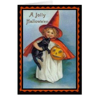 Carte vintage de Halloween de petite sorcière et