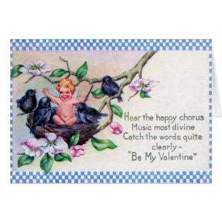 Carte vintage de jour de Valentines d'oiseaux