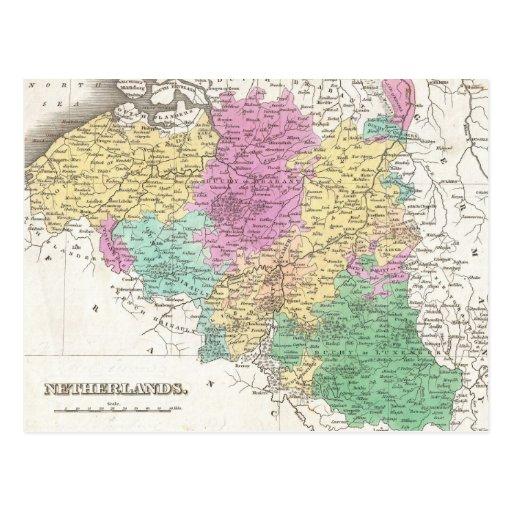 Carte vintage de la Belgique (1827) Carte Postale