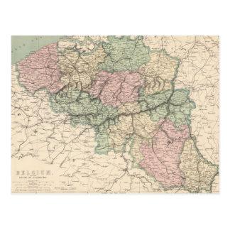 Carte vintage de la Belgique (1873) Carte Postale