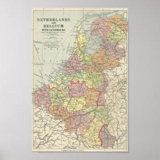 Carte vintage de la Belgique, du Luxembourg et du