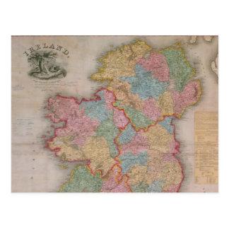 Carte vintage de l'Irlande (1835) Carte Postale