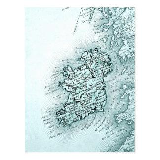 Carte vintage de l'Irlande, verte Carte Postale