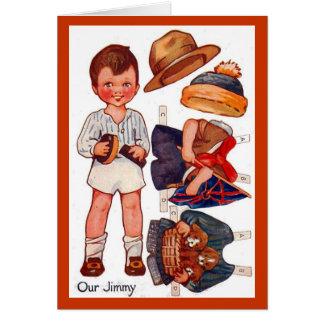 Carte vintage de Paperdoll Little Boy Jimmy