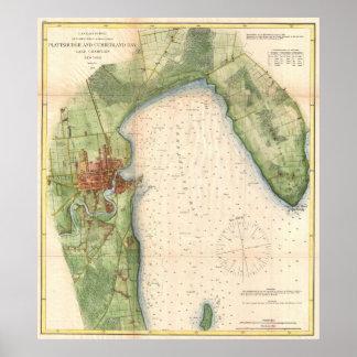 Carte vintage de Plattsburgh New York (1872)