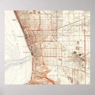 Carte vintage de Redondo Beach et de Torrance CA