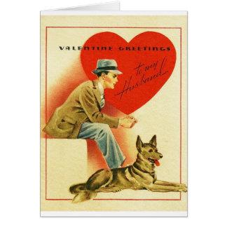 Carte vintage de Saint-Valentin de mari et de