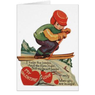 Carte vintage de Saint-Valentin de skieur