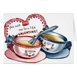Carte vintage de Saint-Valentin de tasses de thé