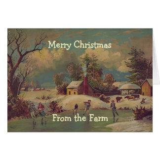 Carte vintage de scène de ferme de pays de Noël