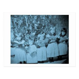 Carte vintage de Stereoview de chant de Noël