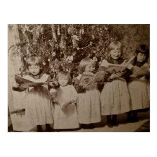 Carte vintage de Stereoview de chant de Noël Carte Postale
