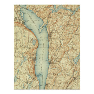 Carte vintage de Tarrytown NY et du fleuve Hudson
