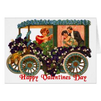 Carte vintage de Valentine d'amants de cupidon de