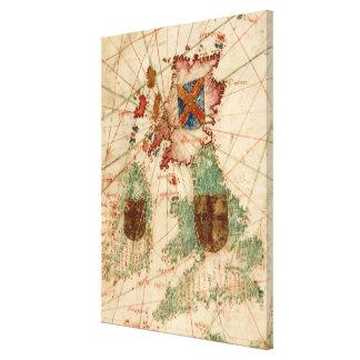 Carte vintage des îles britanniques (1600) toiles