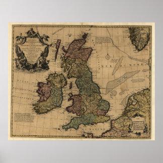 Carte vintage des îles britanniques (1700s)