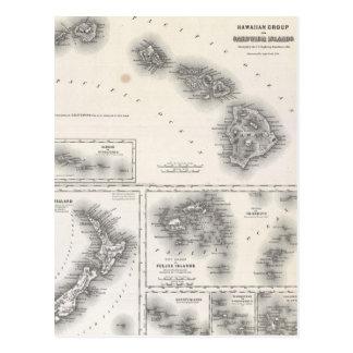 Carte vintage d'Hawaï et de la Nouvelle Zélande